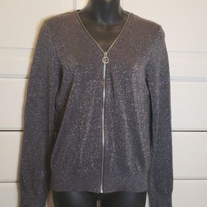 Michael kors sparkly grey silver zip up sweater  M